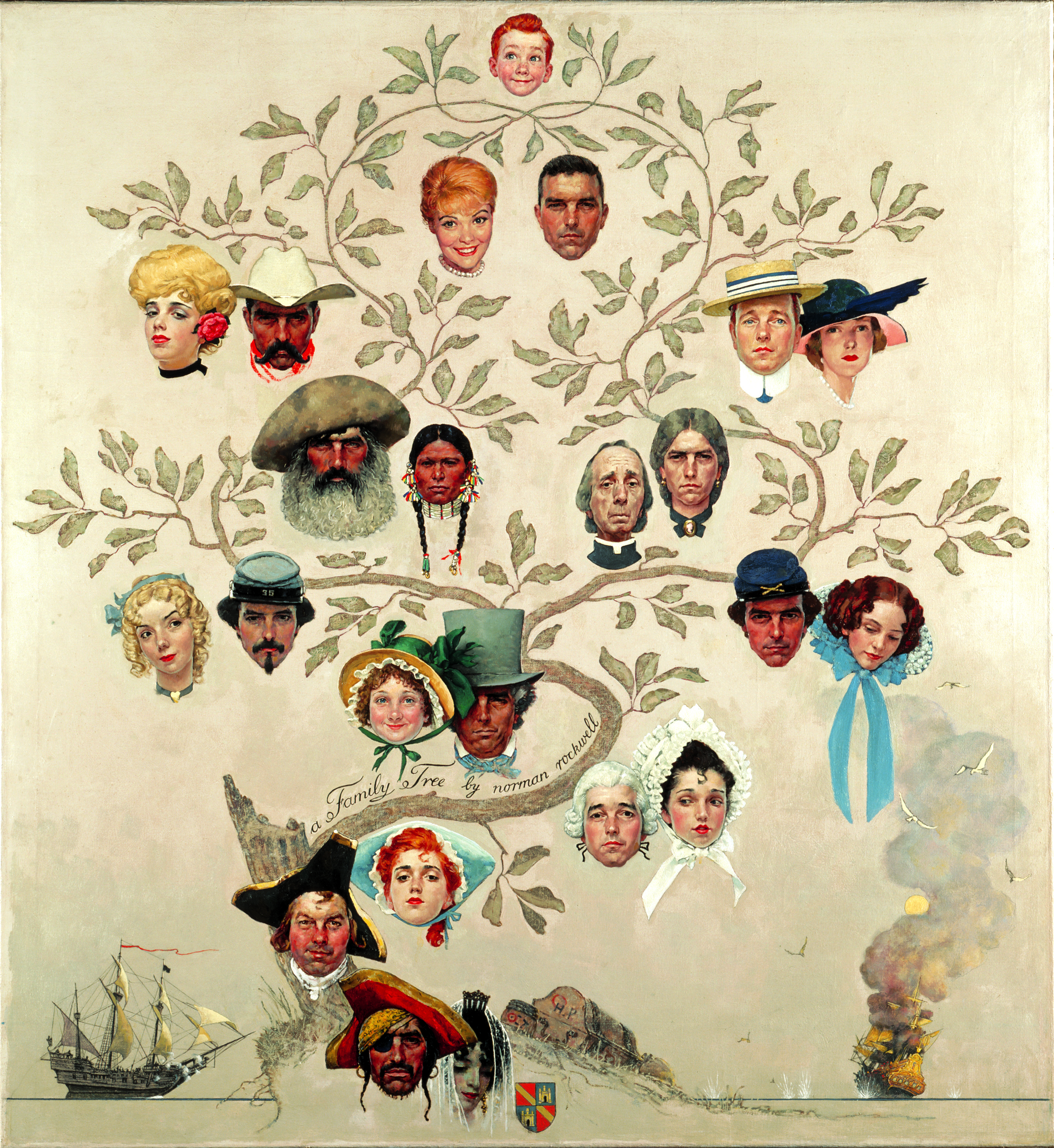 Norman rockwell exhibit launches at crystal bridges museum for Family picture design